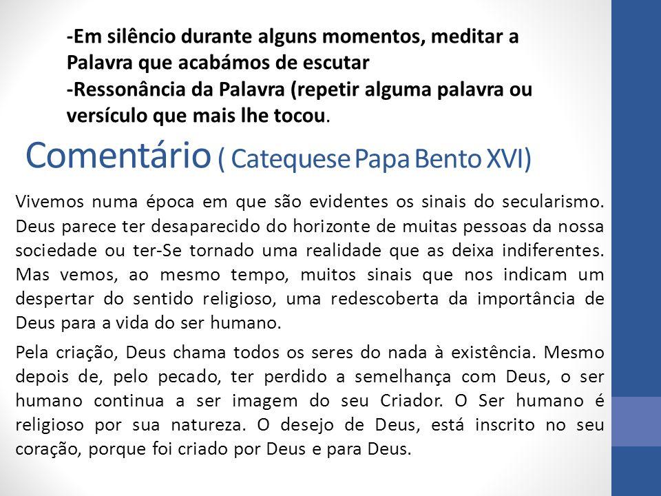 Comentário ( Catequese Papa Bento XVI) Vivemos numa época em que são evidentes os sinais do secularismo. Deus parece ter desaparecido do horizonte de
