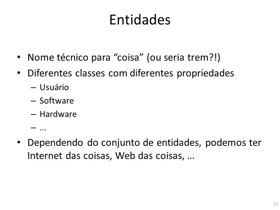 Entidades Nome técnico para coisa (ou seria trem?!) Diferentes classes com diferentes propriedades – Usuário – Software – Hardware –... Dependendo do
