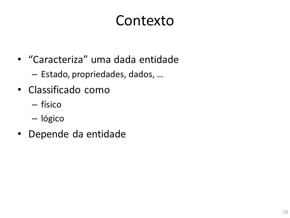 Contexto Caracteriza uma dada entidade – Estado, propriedades, dados, … Classificado como – físico – lógico Depende da entidade 28