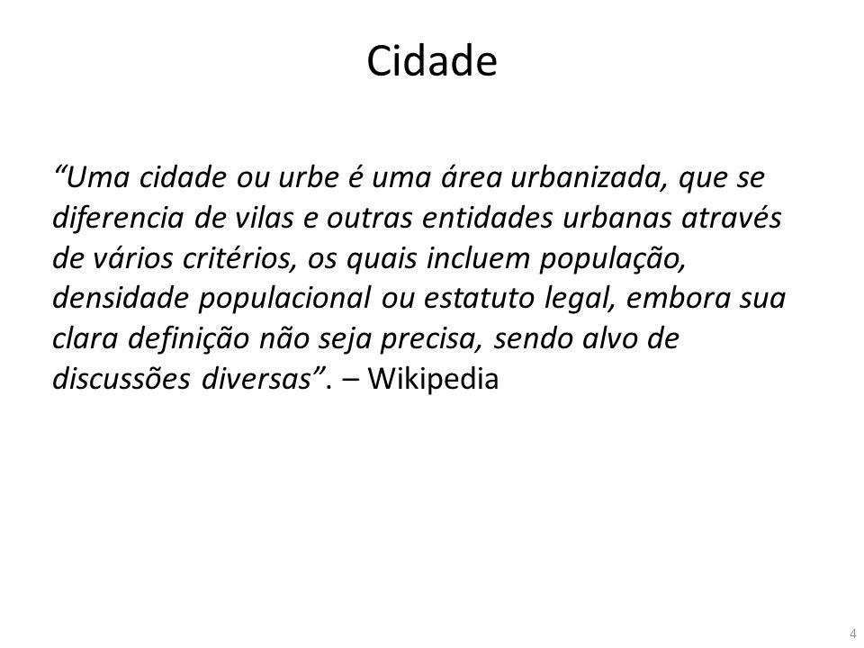 Cidade Uma cidade ou urbe é uma área urbanizada, que se diferencia de vilas e outras entidades urbanas através de vários critérios, os quais incluem p