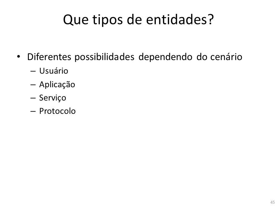 Que tipos de entidades? Diferentes possibilidades dependendo do cenário – Usuário – Aplicação – Serviço – Protocolo 45