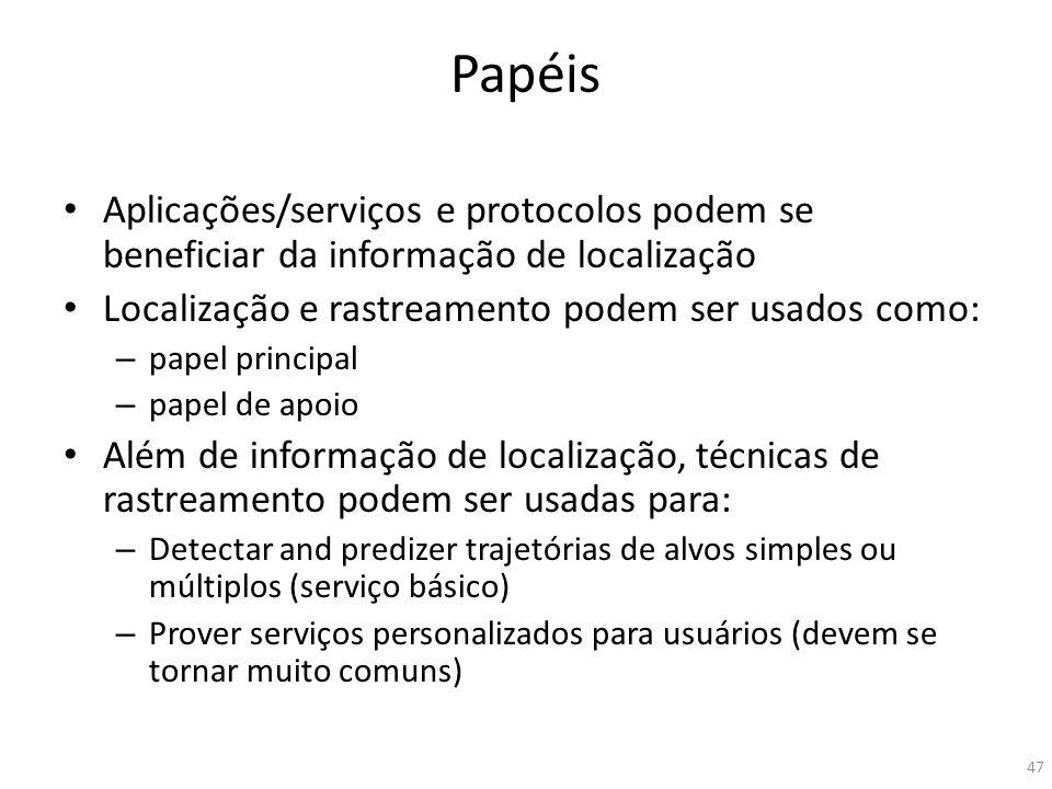 Papéis Aplicações/serviços e protocolos podem se beneficiar da informação de localização Localização e rastreamento podem ser usados como: – papel pri