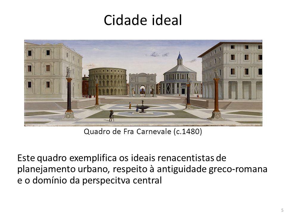 Cidade ideal Quadro de Fra Carnevale (c.1480) Este quadro exemplifica os ideais renacentistas de planejamento urbano, respeito à antiguidade greco-rom