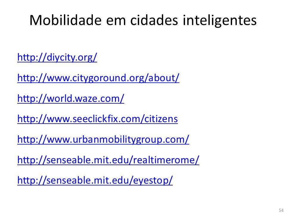 Mobilidade em cidades inteligentes http://diycity.org/ http://www.citygoround.org/about/ http://world.waze.com/ http://www.seeclickfix.com/citizens ht