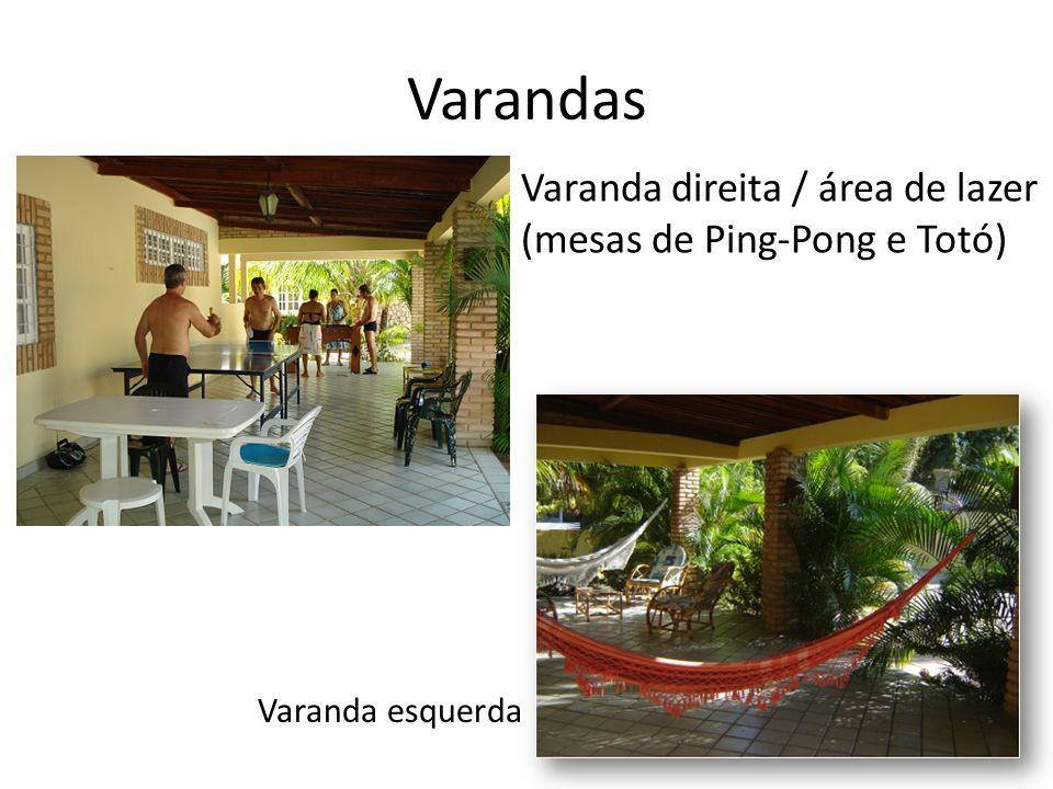 Varandas Varanda direita / área de lazer (mesas de Ping-Pong e Totó) Varanda esquerda