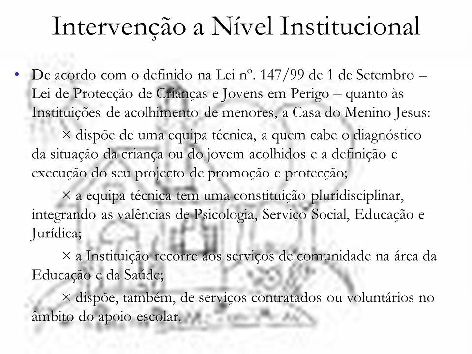 Intervenção a Nível Institucional De acordo com o definido na Lei nº. 147/99 de 1 de Setembro – Lei de Protecção de Crianças e Jovens em Perigo – quan