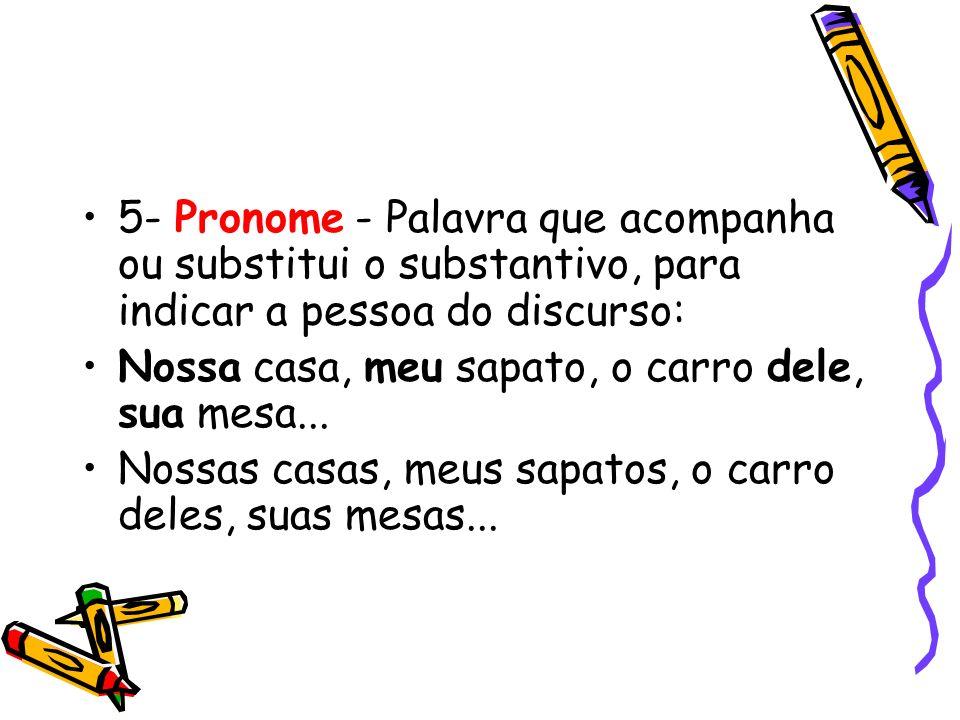 5- Pronome - Palavra que acompanha ou substitui o substantivo, para indicar a pessoa do discurso: Nossa casa, meu sapato, o carro dele, sua mesa... No