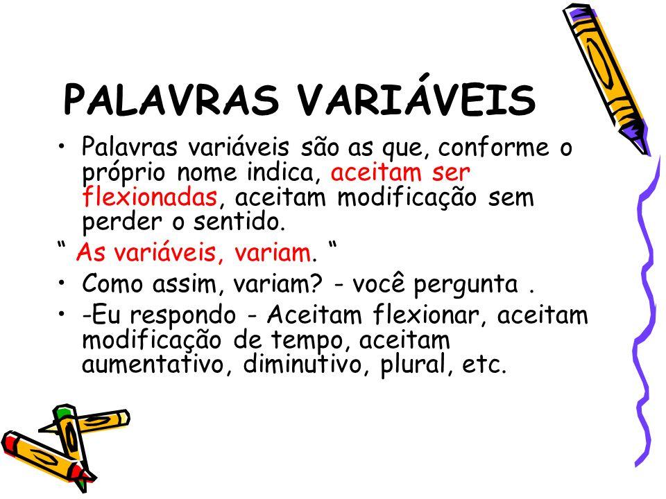 PALAVRAS VARIÁVEIS Palavras variáveis são as que, conforme o próprio nome indica, aceitam ser flexionadas, aceitam modificação sem perder o sentido. A