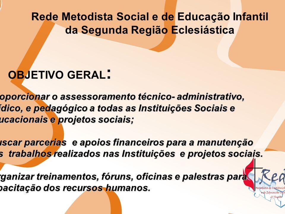 Rede Metodista Social e de Educação Infantil da Segunda Região Eclesiástica OBJETIVO GERAL : Proporcionar o assessoramento técnico- administrativo, ju