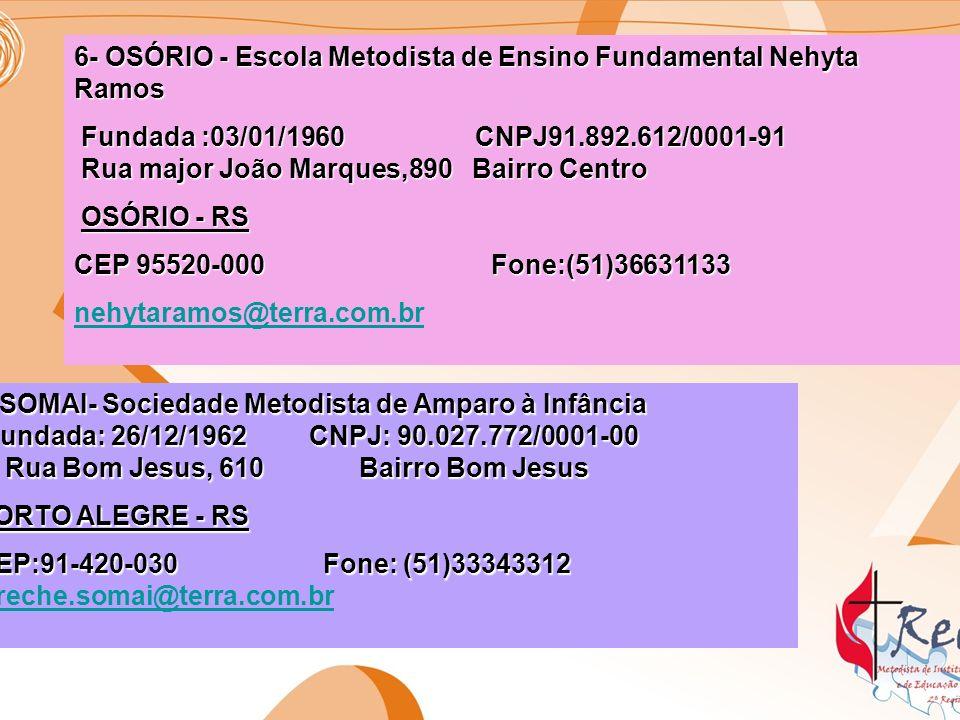 6- OSÓRIO - Escola Metodista de Ensino Fundamental Nehyta Ramos Fundada :03/01/1960 CNPJ91.892.612/0001-91 Rua major João Marques,890 Bairro Centro Fu