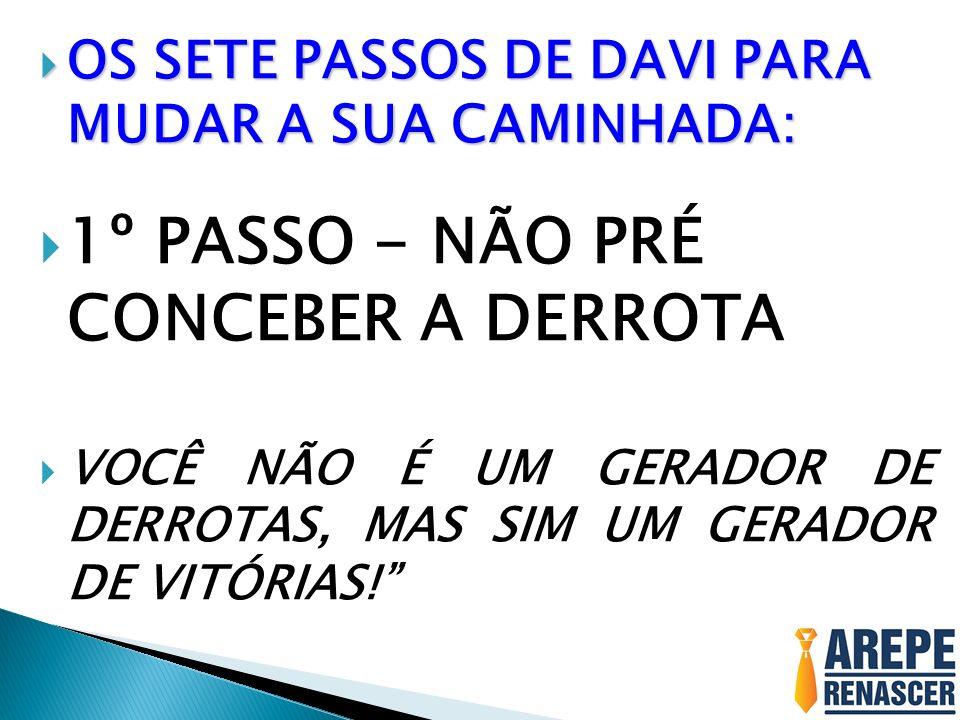 1º PASSO - NÃO PRÉ CONCEBER A DERROTA VOCÊ NÃO É UM GERADOR DE DERROTAS, MAS SIM UM GERADOR DE VITÓRIAS!