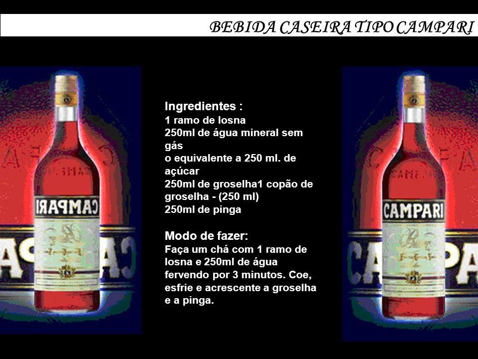 BEBIDA CASEIRA TIPO CAMPARI Ingredientes : 1 ramo de losna 250ml de água mineral sem gás o equivalente a 250 ml. de açúcar 250ml de groselha1 copão de