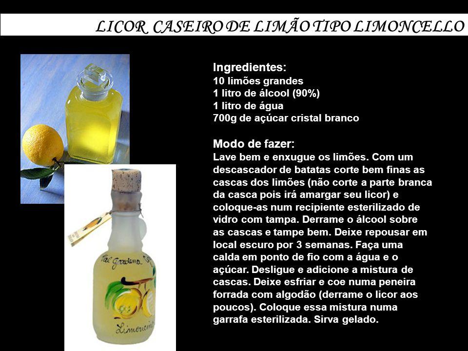 LICOR CASEIRO DE ABACAXI Ingredientes: 1 kg de polpa de abacaxi picada 400g de açúcar cristal a casca de 2 limões cortadas em pedaços 1 colher (sopa) de suco de limão 2 litros de conhaque Modo de fazer: Coloque todos os ingredientes num recipiente grande de vidro (com tampa), começando pelo abacaxi.