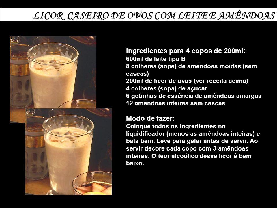 c LICOR CASEIRO DE OVOS COM LEITE E AMÊNDOAS Ingredientes para 4 copos de 200ml: 600ml de leite tipo B 8 colheres (sopa) de amêndoas moídas (sem casca