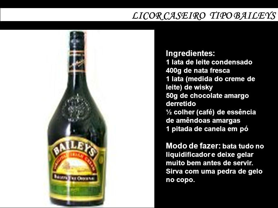 LICOR CASEIRO TIPO BAILEYS Ingredientes: 1 lata de leite condensado 400g de nata fresca 1 lata (medida do creme de leite) de wisky 50g de chocolate am