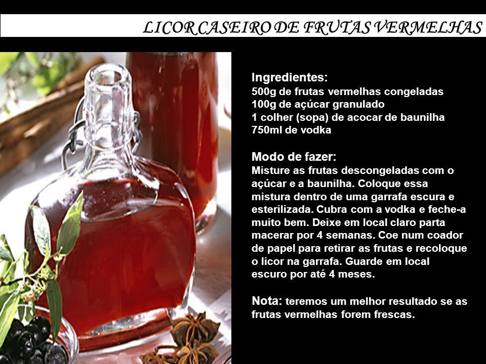 LICOR CASEIRO DE FRUTAS VERMELHAS Ingredientes: 500g de frutas vermelhas congeladas 100g de açúcar granulado 1 colher (sopa) de acocar de baunilha 750