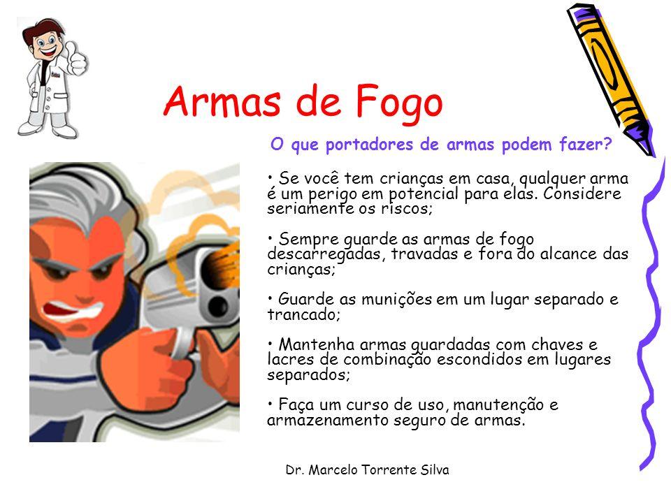 Dr. Marcelo Torrente Silva Armas de Fogo O que portadores de armas podem fazer? Se você tem crianças em casa, qualquer arma é um perigo em potencial p