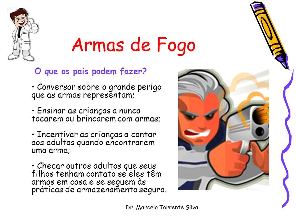 Dr. Marcelo Torrente Silva Armas de Fogo O que os pais podem fazer? Conversar sobre o grande perigo que as armas representam; Ensinar as crianças a nu
