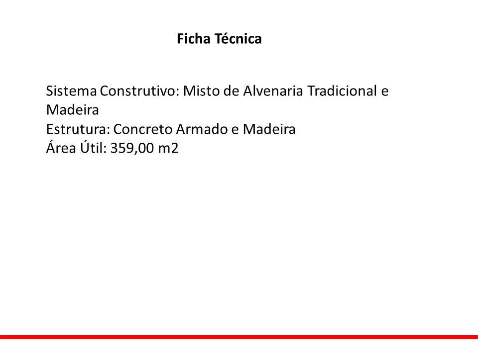 Ficha Técnica Sistema Construtivo: Misto de Alvenaria Tradicional e Madeira Estrutura: Concreto Armado e Madeira Área Útil: 359,00 m2