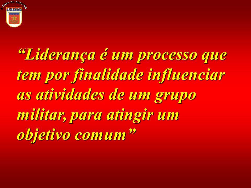 Liderança é um processo que tem por finalidade influenciar as atividades de um grupo militar, para atingir um objetivo comum