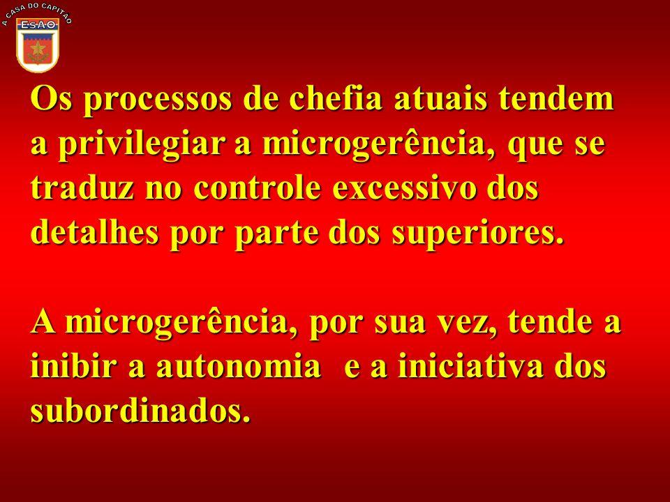 Os processos de chefia atuais tendem a privilegiar a microgerência, que se traduz no controle excessivo dos detalhes por parte dos superiores. A micro