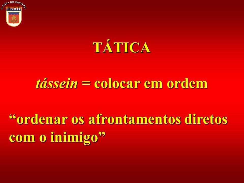 TÁTICA tássein = colocar em ordem ordenar os afrontamentos diretos com o inimigo