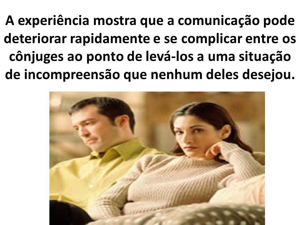 A experiência mostra que a comunicação pode deteriorar rapidamente e se complicar entre os cônjuges ao ponto de levá-los a uma situação de incompreensão que nenhum deles desejou.