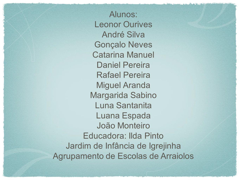 Alunos: Leonor Ourives André Silva Gonçalo Neves Catarina Manuel Daniel Pereira Rafael Pereira Miguel Aranda Margarida Sabino Luna Santanita Luana Esp