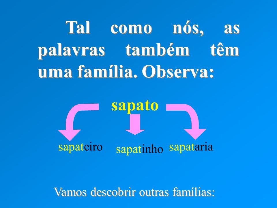 Tal como nós, as palavras também têm uma família. Observa: Tal como nós, as palavras também têm uma família. Observa: sapato sapateirosapataria sapati
