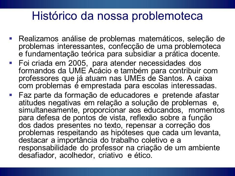 Histórico da nossa problemoteca Realizamos análise de problemas matemáticos, seleção de problemas interessantes, confecção de uma problemoteca e funda
