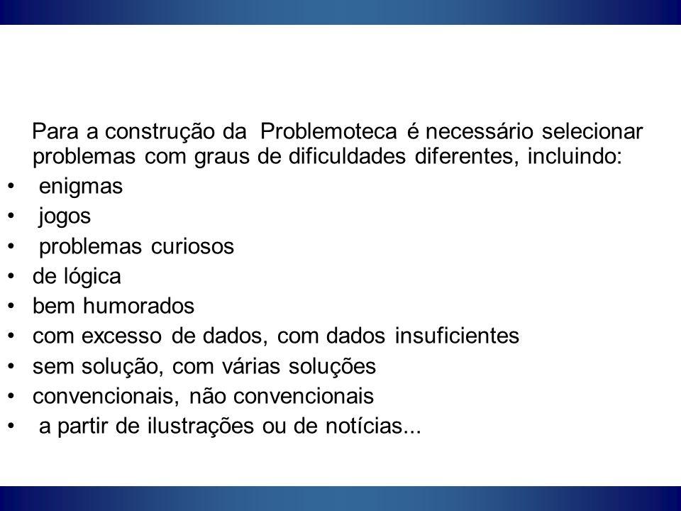 Para a construção da Problemoteca é necessário selecionar problemas com graus de dificuldades diferentes, incluindo: enigmas jogos problemas curiosos