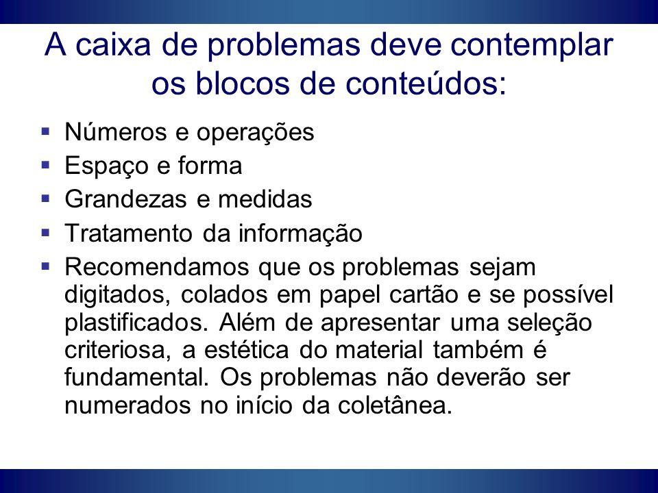 A caixa de problemas deve contemplar os blocos de conteúdos: Números e operações Espaço e forma Grandezas e medidas Tratamento da informação Recomenda