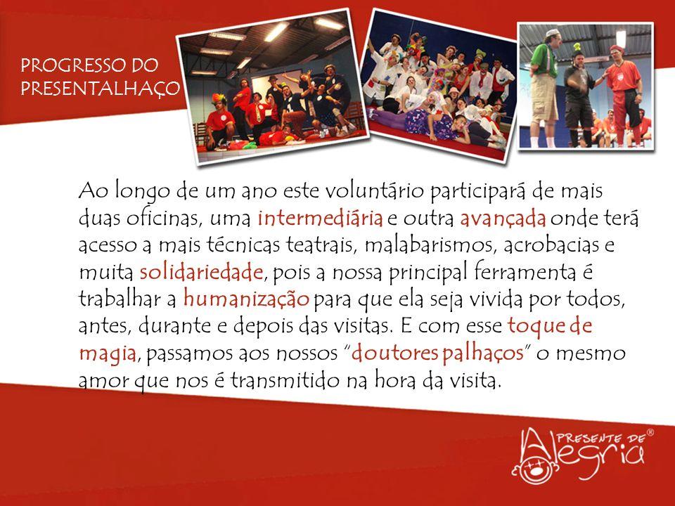 Ao longo de um ano este voluntário participará de mais duas oficinas, uma intermediária e outra avançada onde terá acesso a mais técnicas teatrais, ma