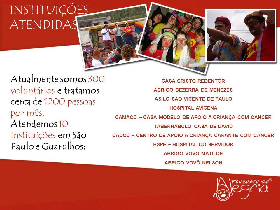 INSTITUIÇÕES ATENDIDAS Atualmente somos 300 voluntários e tratamos cerca de 1200 pessoas por mês. Atendemos 10 Instituições em São Paulo e Guarulhos: