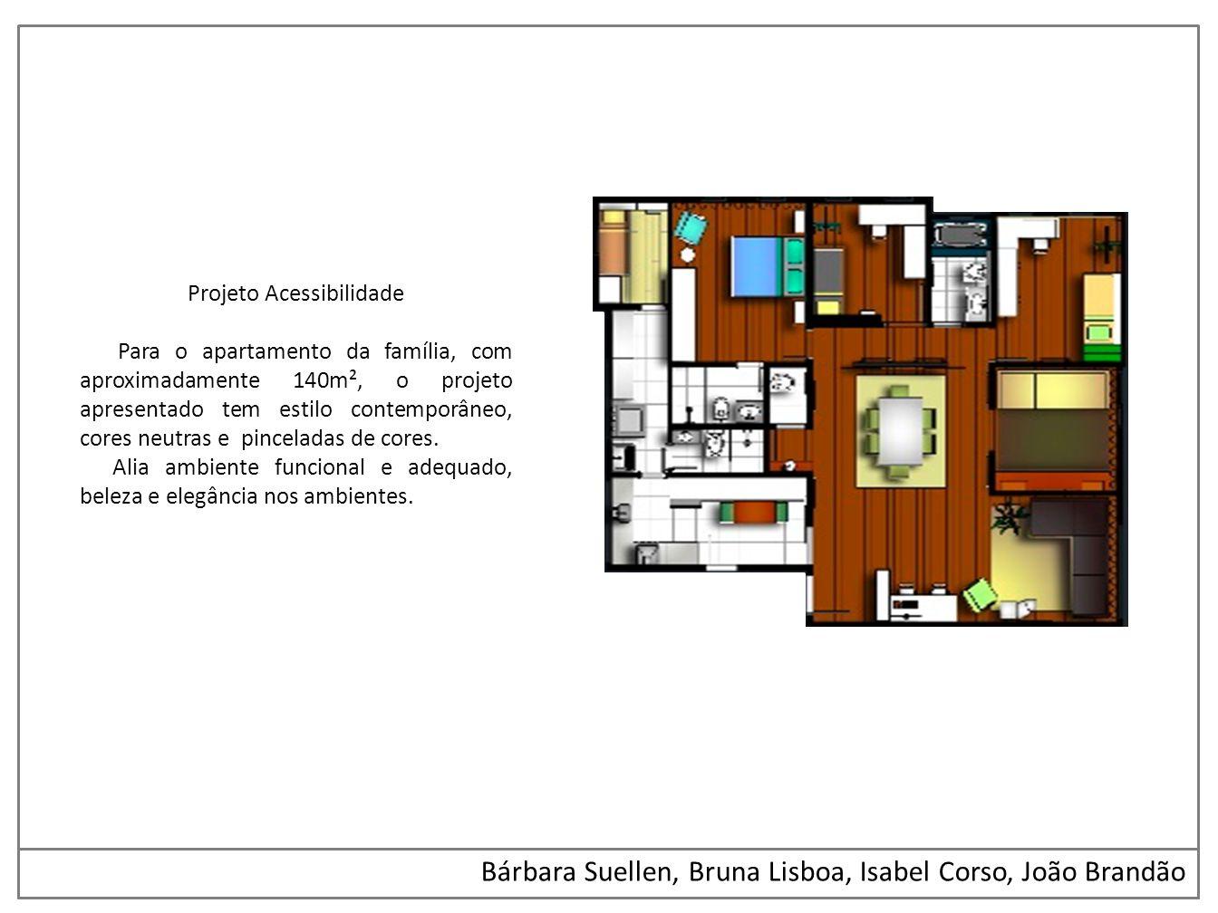 Bárbara Suellen, Bruna Lisboa, Isabel Corso, João Brandão Projeto Acessibilidade Para o apartamento da família, com aproximadamente 140m², o projeto a