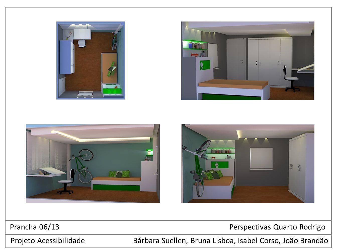 Projeto AcessibilidadeBárbara Suellen, Bruna Lisboa, Isabel Corso, João Brandão Prancha 06/13 Perspectivas Quarto Rodrigo