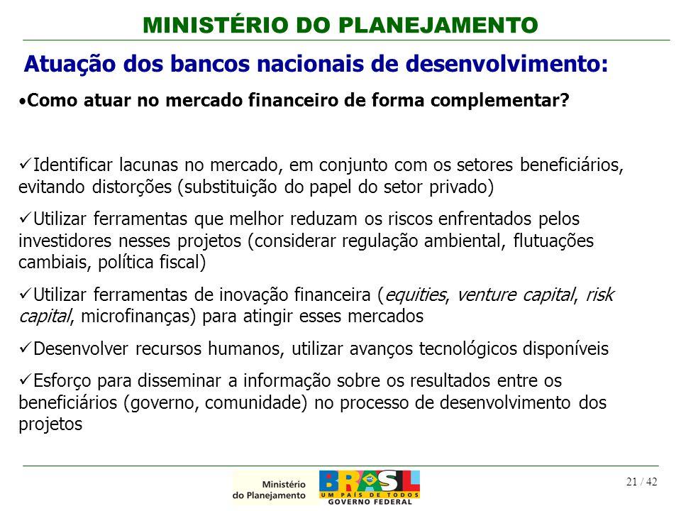 MINISTÉRIO DO PLANEJAMENTO 21 / 42 Atuação dos bancos nacionais de desenvolvimento: Como atuar no mercado financeiro de forma complementar? Identifica