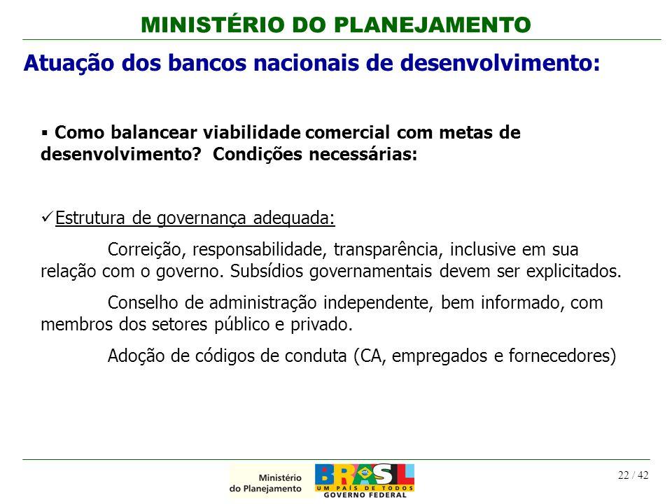 MINISTÉRIO DO PLANEJAMENTO 22 / 42 Como balancear viabilidade comercial com metas de desenvolvimento? Condições necessárias: Estrutura de governança a