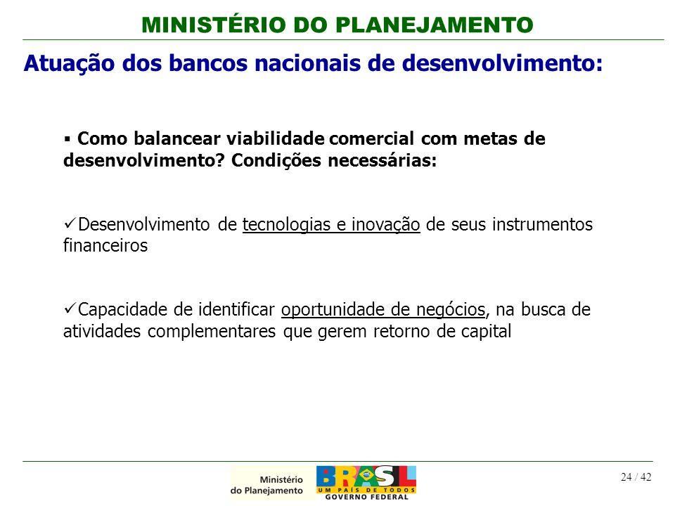 MINISTÉRIO DO PLANEJAMENTO 24 / 42 Como balancear viabilidade comercial com metas de desenvolvimento? Condições necessárias: Desenvolvimento de tecnol