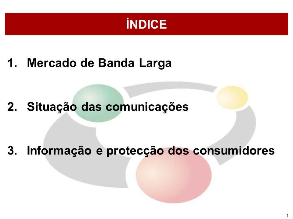 1 ÍNDICE 1.Mercado de Banda Larga 2.Situação das comunicações 3.Informação e protecção dos consumidores