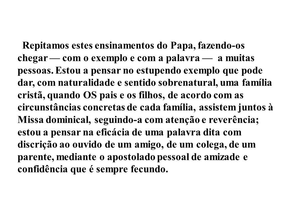 Repitamos estes ensinamentos do Papa, fazendo-os chegar com o exemplo e com a palavra a muitas pessoas. Estou a pensar no estupendo exemplo que pode d