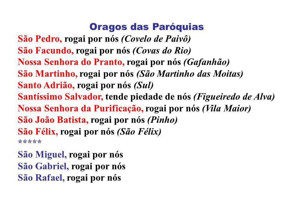 Oragos das Paróquias São Pedro, rogai por nós (Covelo de Paivô) São Facundo, rogai por nós (Covas do Rio) Nossa Senhora do Pranto, rogai por nós (Gafa