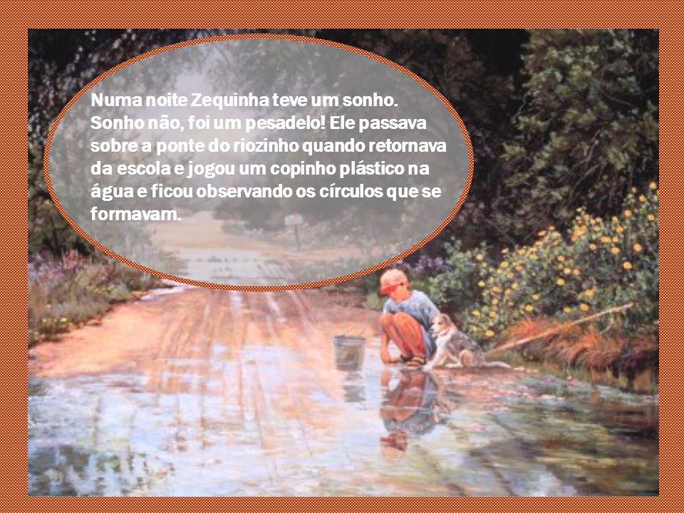 Mas Zequinha parecia não estar muito interessado... O garoto também não era dos mais cuidadosos com o lixo, se não encontrasse uma lixeira bem próxima