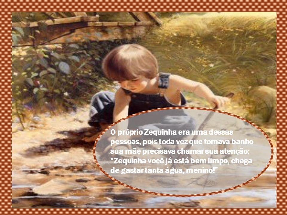 O próprio Zequinha era uma dessas pessoas, pois toda vez que tomava banho sua mãe precisava chamar sua atenção: Zequinha você já está bem limpo, chega de gastar tanta água, menino!