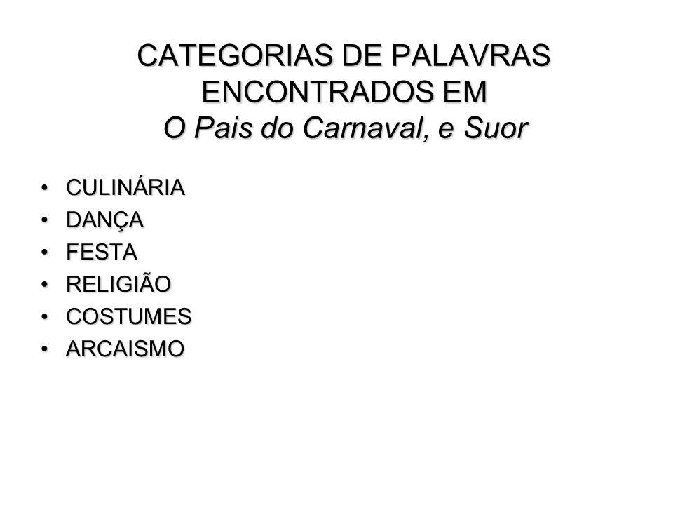 Palavras retiradas de País do Carnaval (PC) e Suor (SU) Abará (PC) Acarajé (PC) Cabaça (SU) Caboclo (PC) Carnaval (PC) Feitiço (PC) Fetichismo (PC) Latrina (SU) Pilhérias (SU) e (PC)