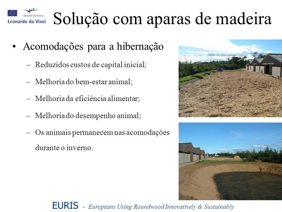 Solução com aparas de madeira Acomodações para a hibernação –Reduzidos custos de capital inicial; –Melhoria do bem-estar animal; –Melhoria da eficiênc