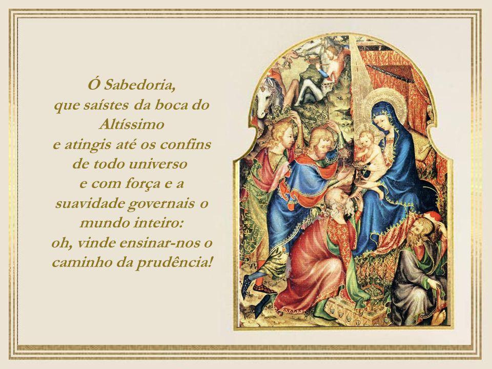 Oh Sabiduría, que brotaste de los labios del Altísimo, abarcando del uno al otro confín, y ordenándolo todo con firmeza y suavidad: ven y muéstranos el camino de la salvación.