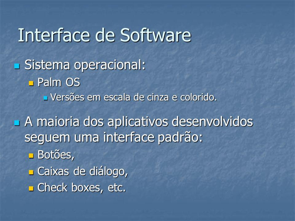 Interface de Software Sistema operacional: Sistema operacional: Palm OS Palm OS Versões em escala de cinza e colorido. Versões em escala de cinza e co