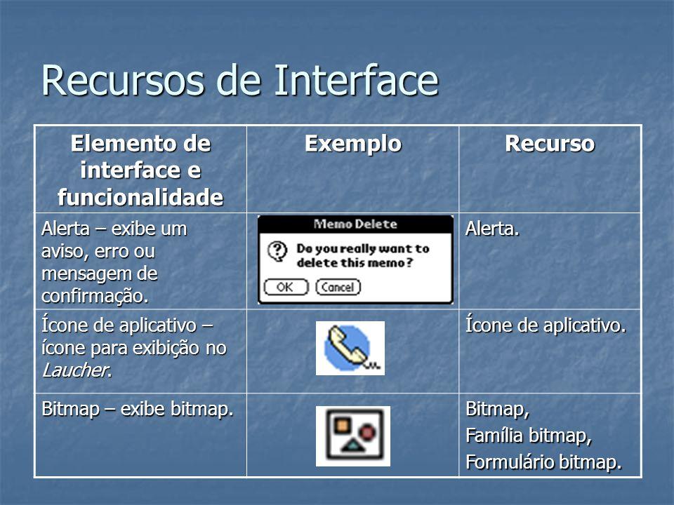 Recursos de Interface Elemento de interface e funcionalidade ExemploRecurso Alerta – exibe um aviso, erro ou mensagem de confirmação. Alerta. Ícone de