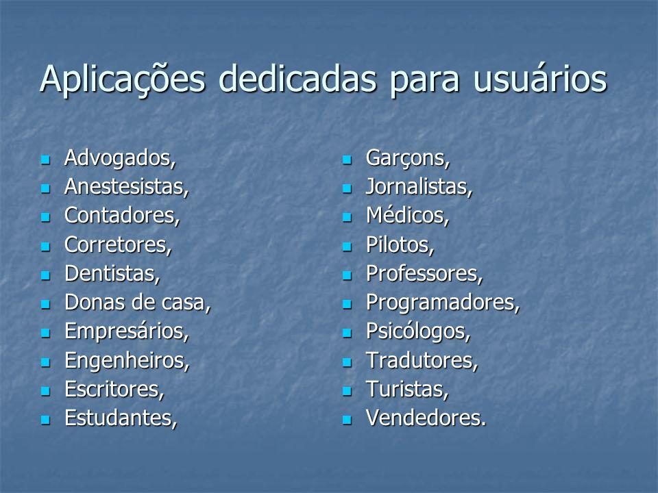Aplicações dedicadas para usuários Advogados, Advogados, Anestesistas, Anestesistas, Contadores, Contadores, Corretores, Corretores, Dentistas, Dentis
